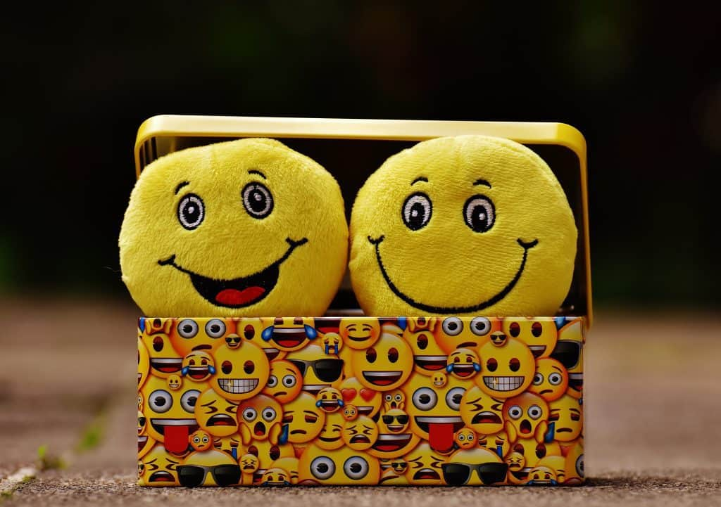 Picture of smiley emoticons stored in a box
